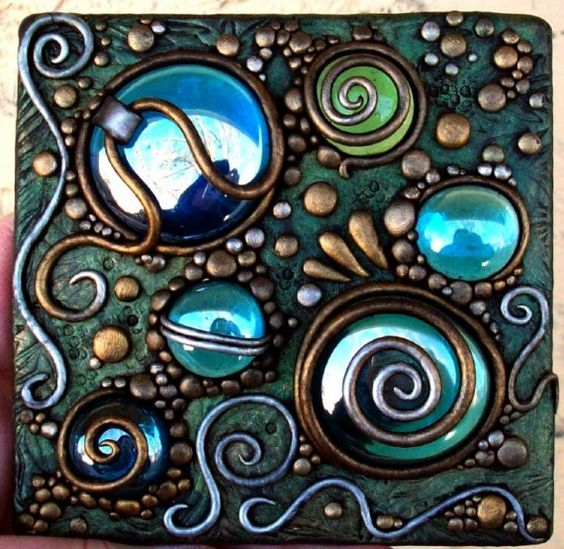 Polymer Clay and Iridescent glass gems on clear by MandarinMoon