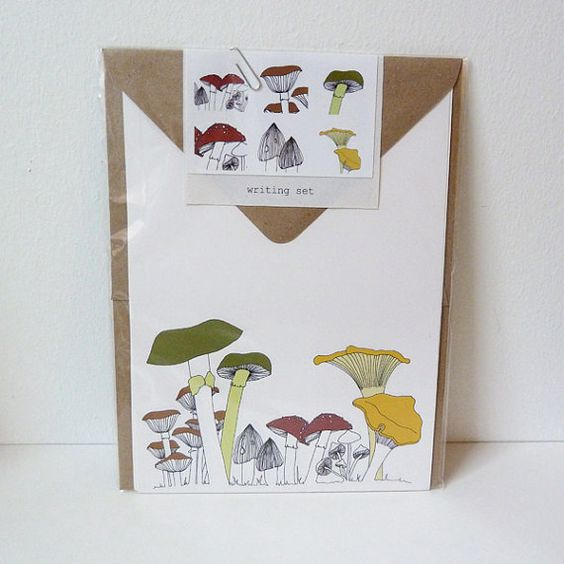 toadstool writing set by katebroughton