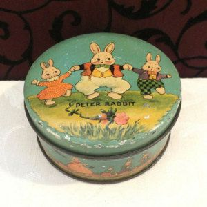 Darling Antique Easter Tin, Tindeco, 1920s, Peter Rabbit, Small Vintage Tin, Easter Decoration, Antique Tin Box, Bunny, Small Blue Box