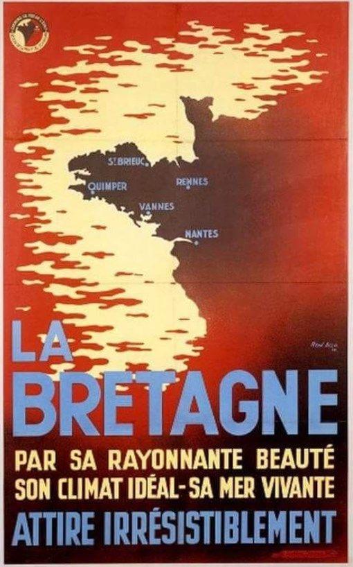 La Bretagne Ca Vous Gagne Ancienne Affiche Promotionnelle De La Region Bretagne Plans De Bateau Affiches Anciennes