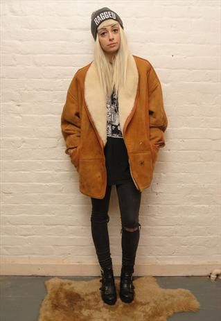 Vintage 70s Sheepskin Shearling Coat 0710W8 | Coats Winter coats