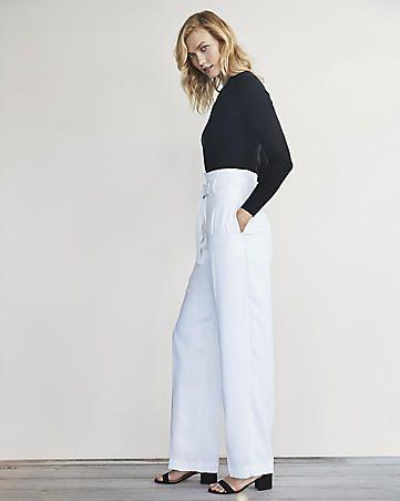 Karlie Kloss Wide Leg Belted Dress Pant