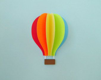Hot Air Balloon Wall Decal Paper Wall Art Wall by goshandgolly