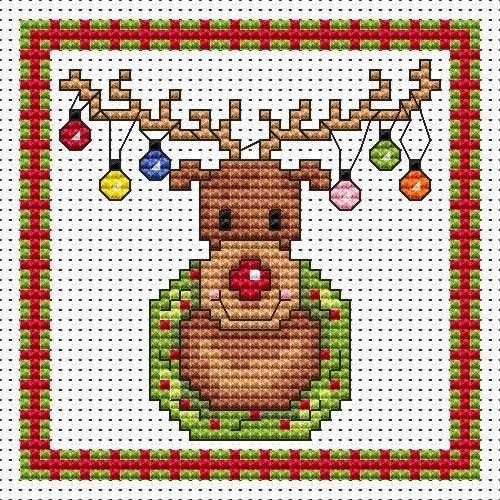 Rudolf Lights Cross Stitch Christmas Card Kit - ?6.60 on Past Impressions | by Fat Cat Cross Stitch: