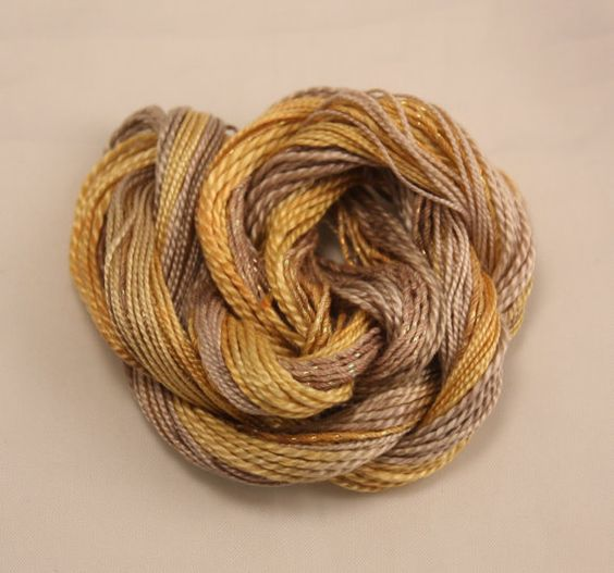 Beige Gold yellow Cotton Perle Embroidery by NellsEmbroidery