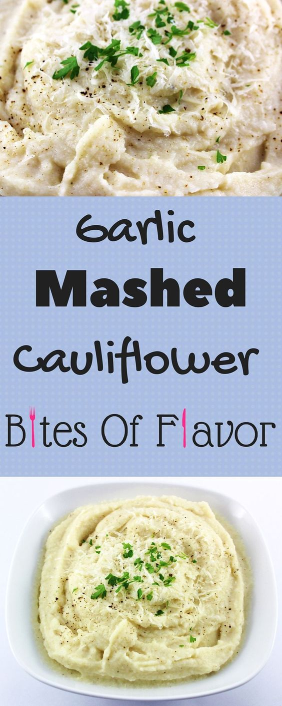 Garlic Mashed Cauliflower- Weight Watcher friendly cauliflower recipe.  Only a few ingredients to make this easy comfort food in a bowl.  2 SmartPoints per serving!!