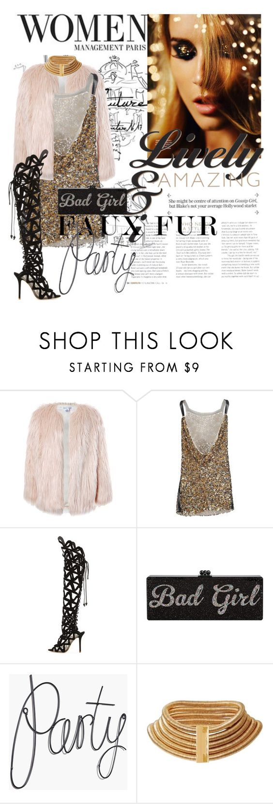 """""""Fancy Night Party"""" by khloesuertz ❤ liked on Polyvore featuring Sans Souci, Prada, Sophia Webster, Balmain, contest, girlsnightout and fauxfur"""
