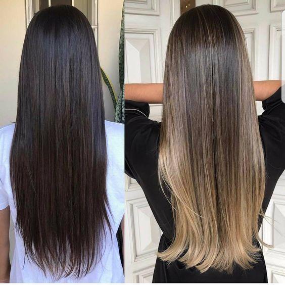 Extra Thick Double Weft Clip In Hair Extensions 100 Remy Human Hair Extensions Balayage En Cabello Liso Decoloración De Cabello Cabello Castaño Con Reflejos