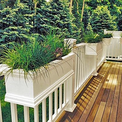 deck railing planters over the rail