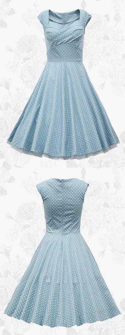1950s Vintage Square Neck Polka Dots Waist Slim Dress