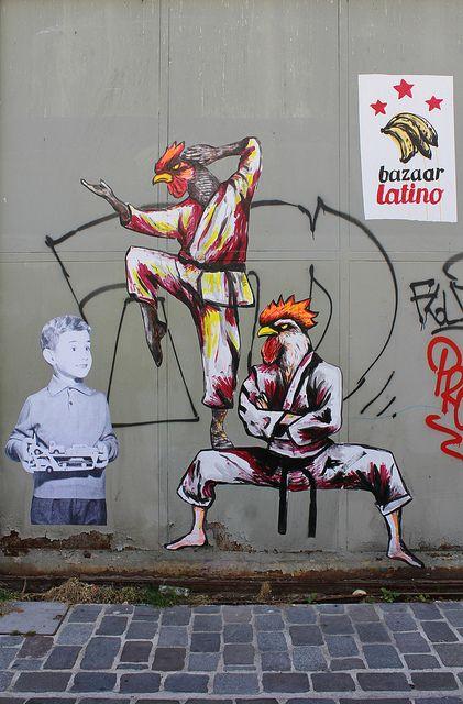 Street art   Stencils (Passage Brûlon, Paris 12ème, France) by Bazaar Latino and Suriani