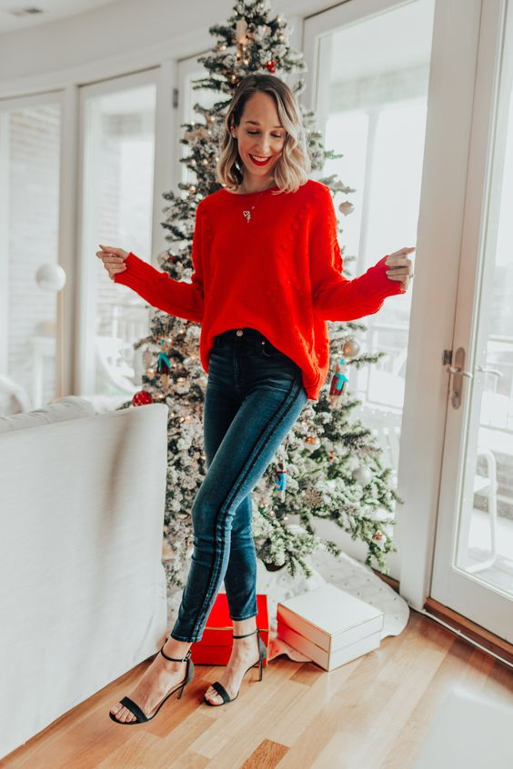 red sweater outfit for Christmas
