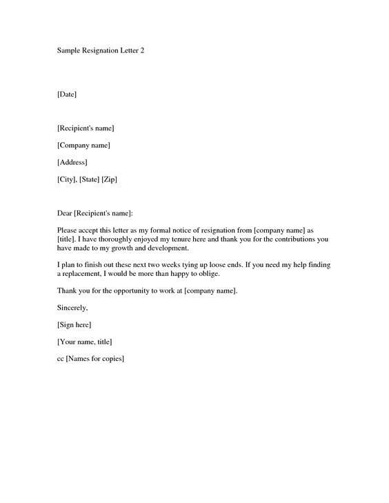 Printable Sample Letter of Resignation Form jobs Pinterest - formal resignation letter sample