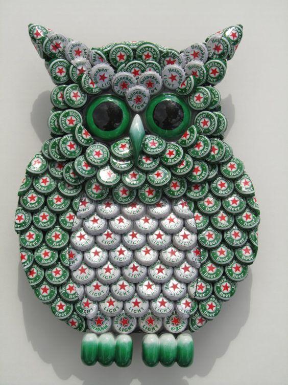 Metal Bottle Cap Green Heineken Owl Wall Art by EricsEasel on Etsy, $150.00: