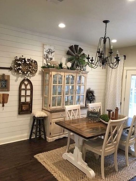 32 Farmhouse Dining Room Ideas That Are Simply Charming Molitsy Blog In 2020 Farmhouse Style Dining Room Farmhouse Dining Rooms Decor Farm House Living Room