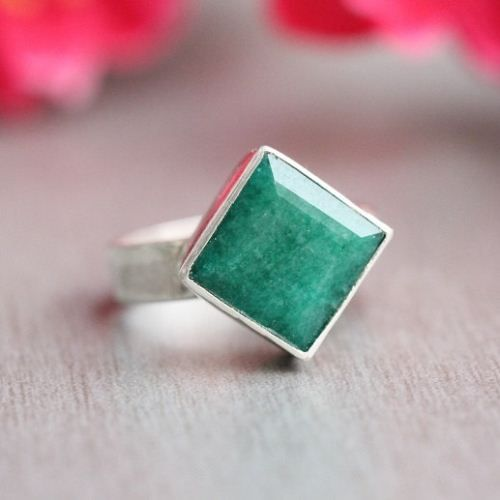 Buy Emerald ring - Precious ring - Green ring - square ring - Birthstone by aStudio1980 Online at aStudio1980.com. Enjoy FREE shipping now. 100% handcrafted and original.