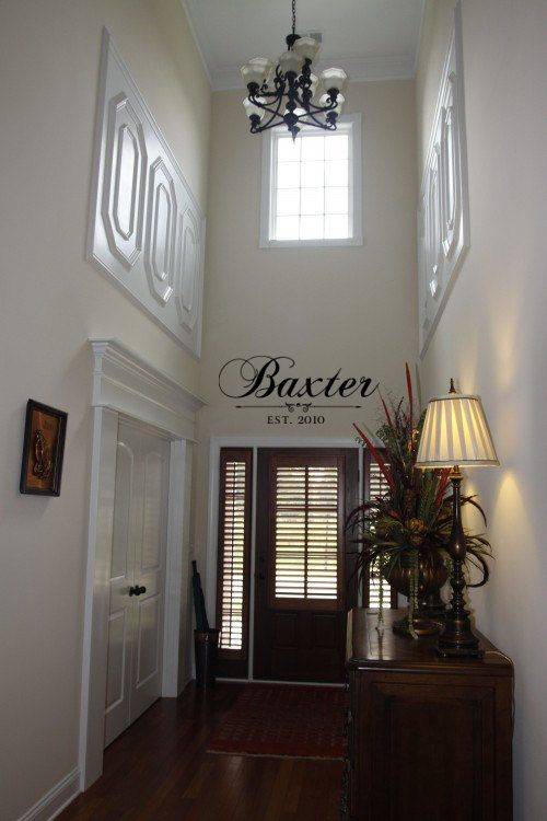 Family name above door w/year married... LOVE this idea.  Could be a wall sticker or a sign.