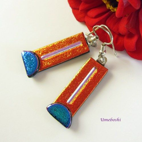 Hot Orange Tango Handmade Dichroic Fused Glass Dangle Earrings | Umeboshi - Jewelry