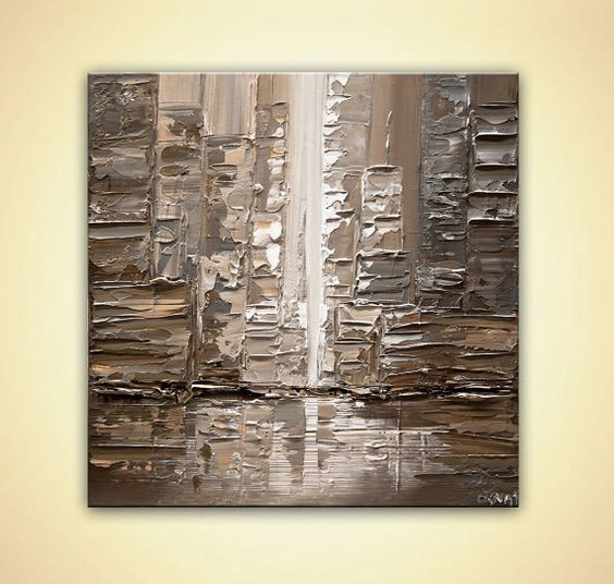 Modern City Abstract Painting Original TEXTURED by OsnatFineArt
