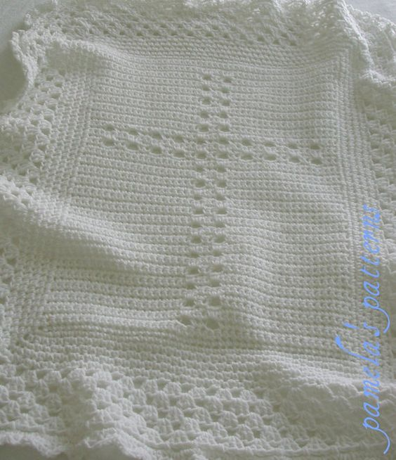 Free Crochet Patterns Christening Blankets : Crochet Christening Blanket Cross PDF Pattern Baby Afghan ...