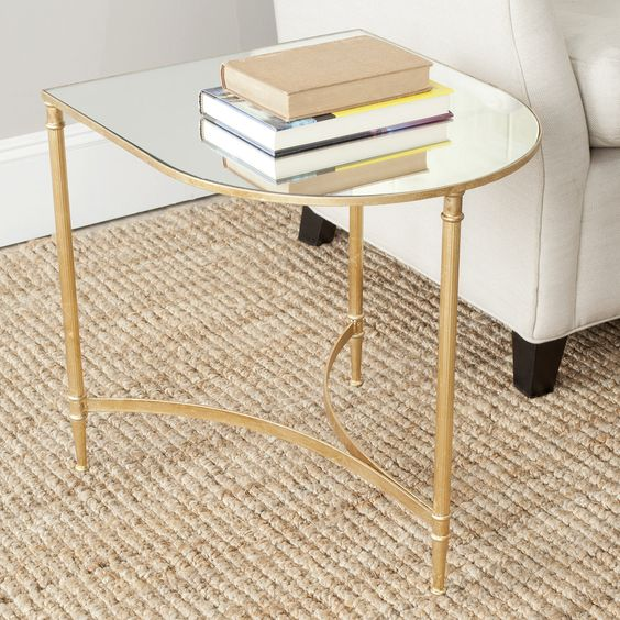 Nevin Accent Table, Gold/Mirror Top | ACHICA