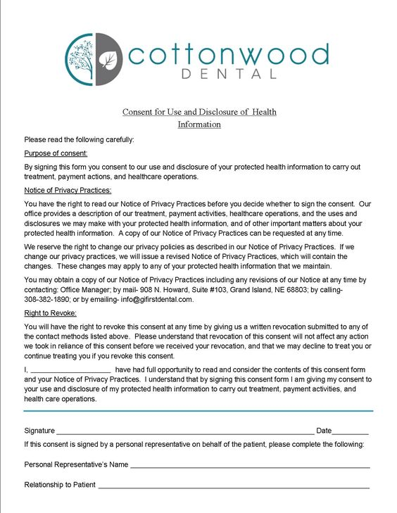 cottonwood dental grand island patient forms hipaa form Home - hipaa consent forms
