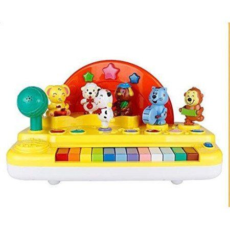 Lightahead® Musical Piano - Plays four different Instruments with colorful lights effect and little toy animals performing to sound with Microphone