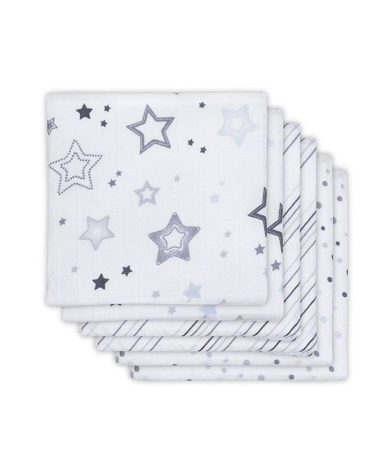 Little Naturals 6-pack scrims white / purple EUR 11.99 * RRP: EUR 15,95 Great Set of six Mulltüchern Versatile great quality Sweet design Theme: Stars in purple and gray material: 100% cotton  Care instructions: Machine Wash 60 ° C