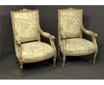 Pareja de sillones grandes estilo luis xvi dorados y for Sillones de estilo