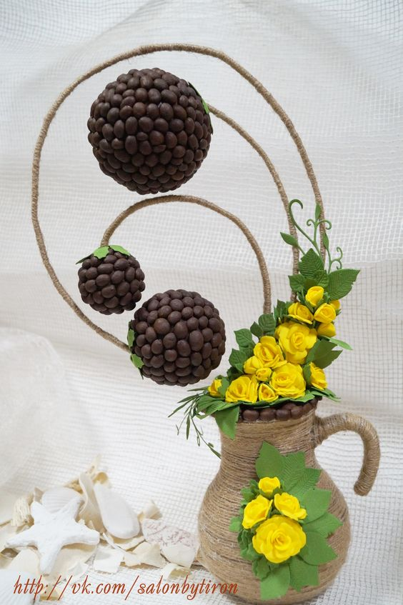 Топиарий с кофейными зернами и фоамираном