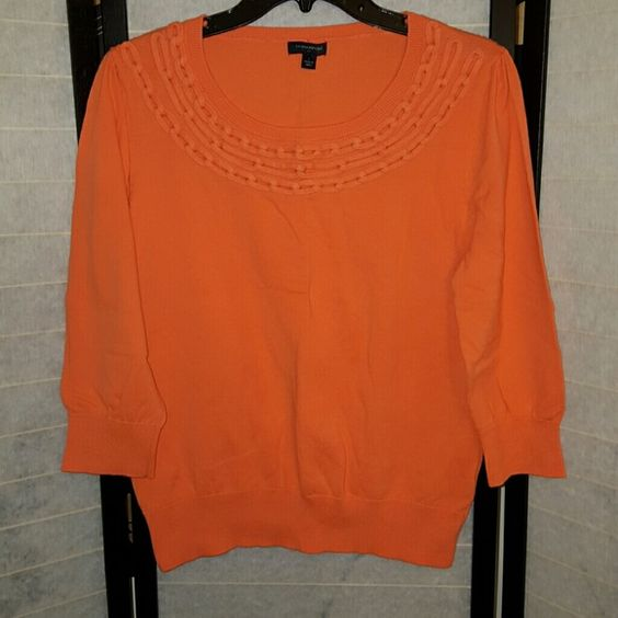 Banana Republic sweater Banana Republic orange sweater with scoop neck. Worn once. Great condition. 73% cotton.  27% nylon. Hand wash cold.  Fitted waist line. 3/4 sleeves. Banana Republic Sweaters Crew & Scoop Necks