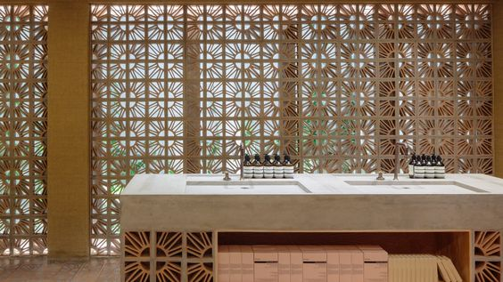 Fernando and Humberto Campana have become the latest designers to create a shop interior for Aesop – using traditional Brazilian Cobogó bricks.