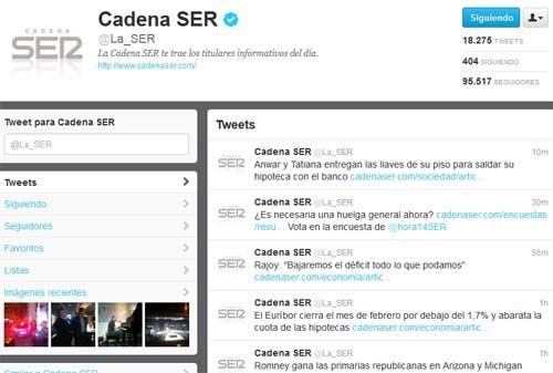 La Ser acumula 95.517 seguidores en twitter, superando ampliamente a sus competidores