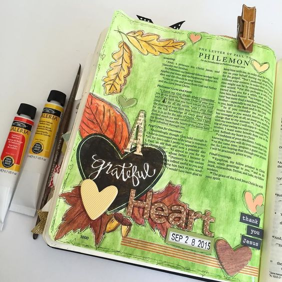 I was inspired by the season to create this page in Philemon.  Paul was thanking God for the people and praying for them as they share their faith with others. He was grateful for them and loved them... Reminds us to be grateful for the people in our lives and to remember to pray continually for them and to thank Jesus for them!  #biblejournaling #illustratedfaith #philemon #journingbible #artandfaithcreativeretreat #agratefulheart #thankyoujesus by awelldocumentedlife