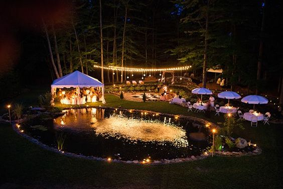 Beautiful Outdoor Wedding Reception At Night