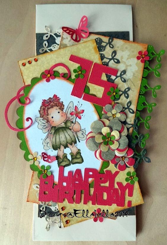 Happy Birthday card zum 75. Geburtstag meiner Schwiegermutter. Magnolia Stempel/Stamp