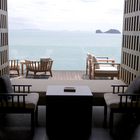 Lobby lounge - incredible views of the Gulf of Thailand combined with contemporary Thai design create an ideal setting for sunset cocktails and snacks #conradkohsamui