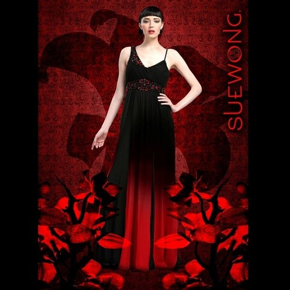 Sue Wong asymmetrical straps gradient ombre gown with pleated top and beaded accents @suewongfashion
