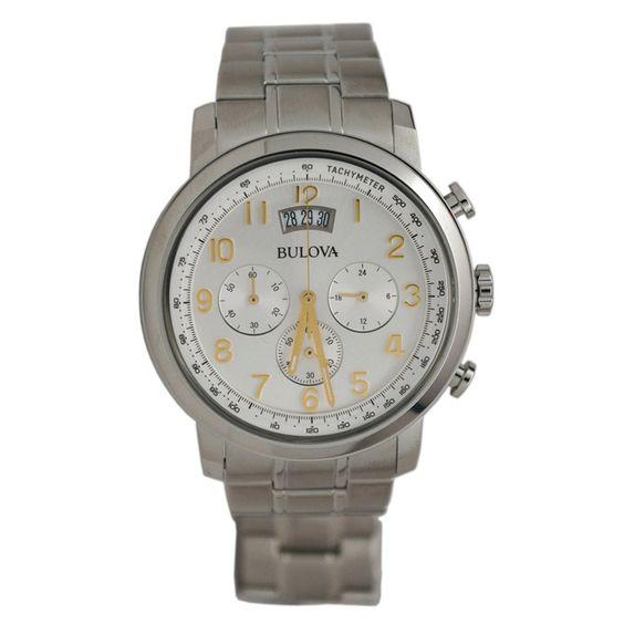 Bulova 96B201 Men's Silver Dial Stainless Steel Bracelet Chronograph Watch,