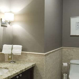 Gray bathroom colors cottage bathroom glidden fossil - Bathroom paint colors with gray tile ...