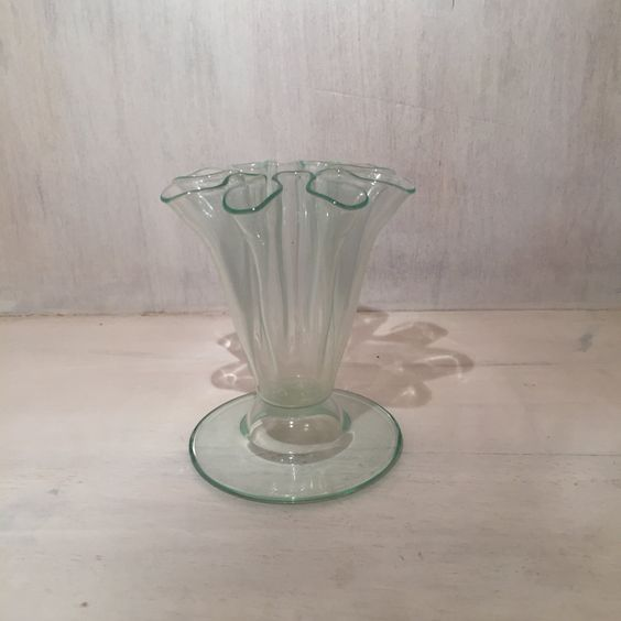 Small Green Depression Glass Vase with Ruffled Rim by DivineVintageFinds4U on Etsy