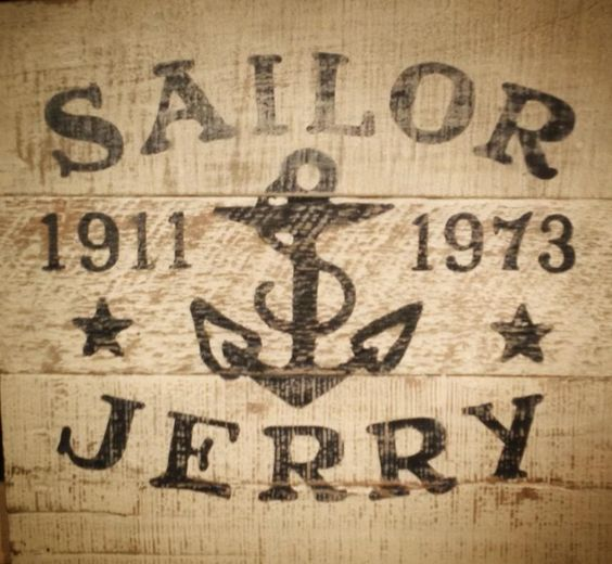 Vintage Sailor Jerry sign on pallet wood. Pallet ideas and pallet signs By Scrapwork Designs.