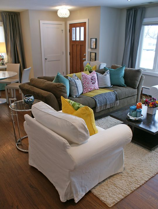 Couch pillows and green couches on pinterest for Neutral color furniture