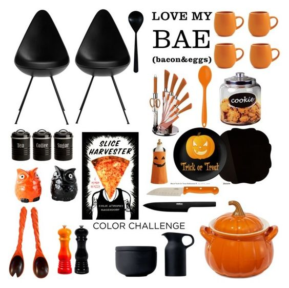 """Color Challenge: Orange and Black"" by indhrios ❤ liked on Polyvore featuring interior, interiors, interior design, home, home decor, interior decorating, Enrico, Kim Seybert, Royal Doulton and Typhoon"