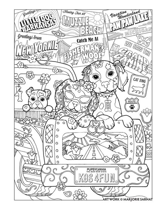 "Creative Haven Dazzling Dogs Coloring Book by Marjorie Sarnat, ""Road Trip"":"