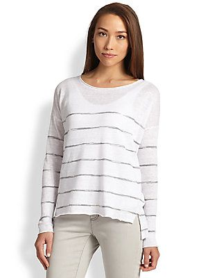 Eileen Fisher Linen Striped Sweater