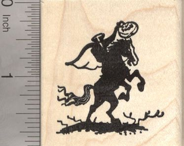Headless Horseman Halloween Rubber Stamp, Rider with Pumpkin Head (G25507) $9 at RubberHedgehog.com