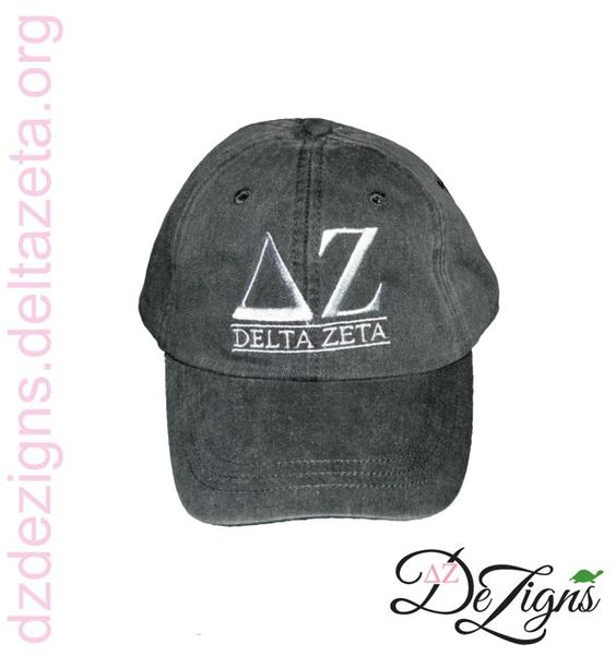 DZ DeZigns New Arrival! Delta Zeta Charcoal Embroidered ΔΖ Hat