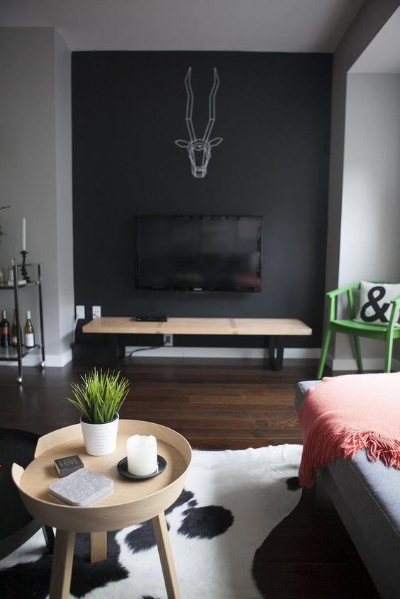 20+ Schwarze wand im wohnzimmer Trends