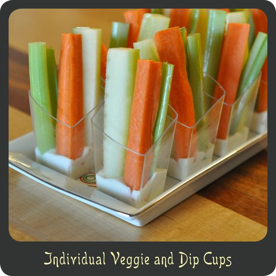 Veggie and Dip Cups—Love this way to serve veggies at a party! Kids love it too!